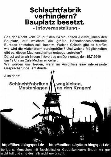 Infoveranstaltung zur Besetzung des Baugeländes Europas größter Hähnchenschlachtanlage in Wietze. Cafe Median, 15.07.10.